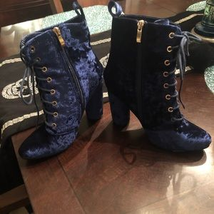"""Adorable Navy """"Velvet"""" Lace Up Booties"""